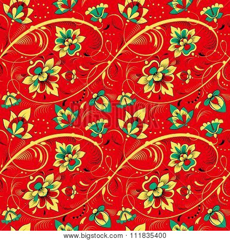 Floral Seamless Pattern In Russian Tradition Style