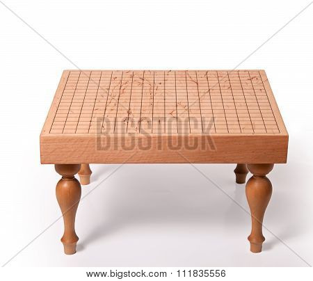 Empty Wooden Table For Board Game Go