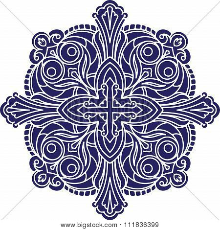 Abstract Vector Black Square Lace Design In Dark Blue Tones - Mandala, Ethnic Decorative Element. Ca