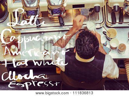 Barista And Coffee Machines At The Bar, Message Latte, Cappucinno, Mocha, Flat White, Espresso, Amer