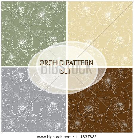 Seamless vector pattern. Orchid background set.