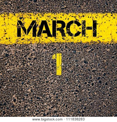 1 March Calendar Day Over Road Marking Yellow Paint Line