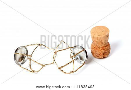 Cork From Champagne Wine And Muselets