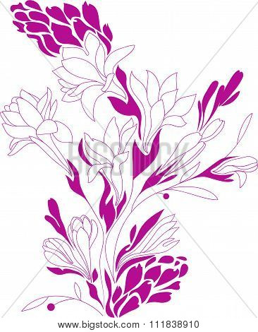 Flowers Contour Drawing