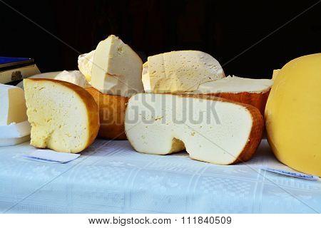 Cheese Varieties On Display At The Market