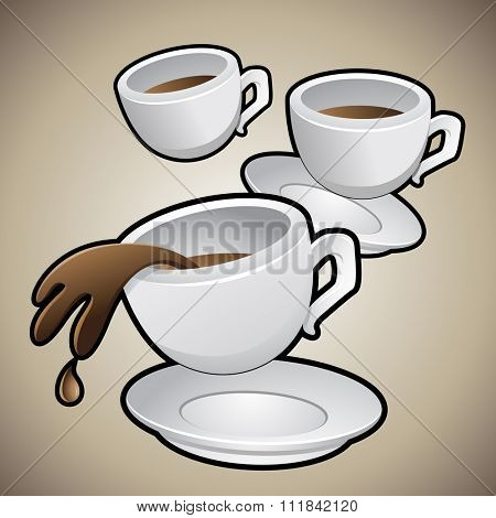 Vector Illustration of Coffee Cups with Saucers isolated on a brown background