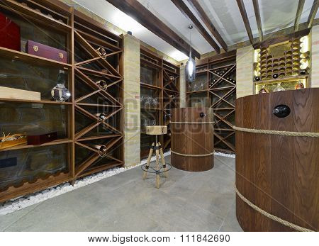 Modern Wooden Winery Or Wine Cellar