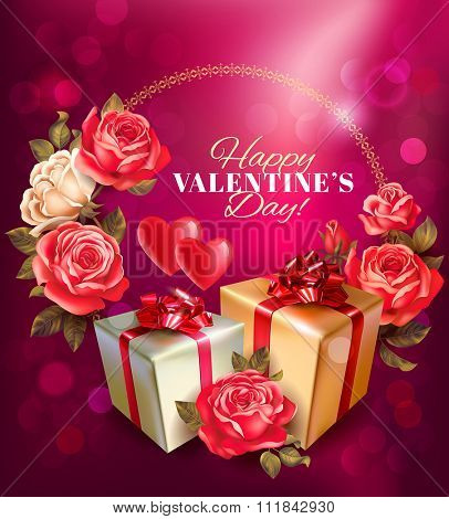 Valentine day romantic background. Vector illustration.