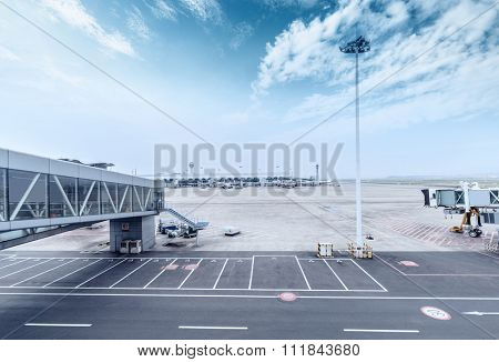 skyline and landscape of airport ramp