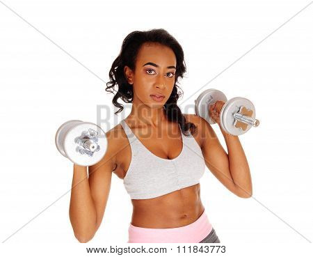 Closeup Of Exercising Girl With Dumbbell's.