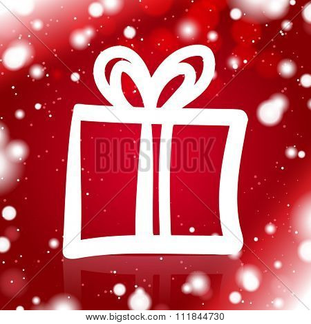 A Simple Gift Outline on the Red Snowy Background
