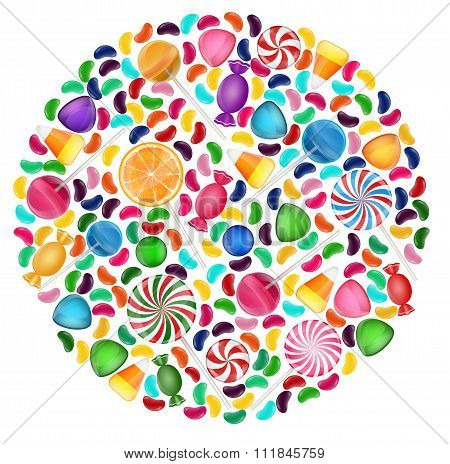 Colorful candy background with concept circle