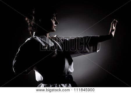 girl exercising karate isolated against white background