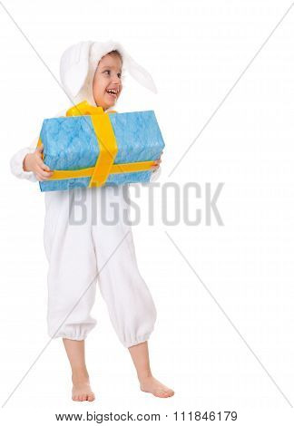Young Boy In A Bunny Suite With Gift