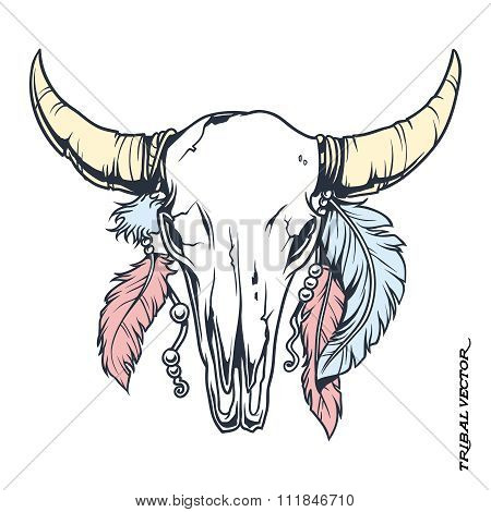 Vector Tattoo Tribal Bull Skull With Feather Illustration