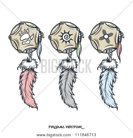 Vector Tribal Trinket with feather illustrations isolated on white