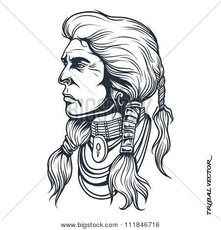 Vector Tribal Chief Head Silhouette Line Drawing