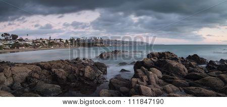 Crescent Bay beach at sunset in Laguna Beach