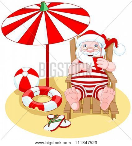Cartoon Santa Claus relaxes on the beach