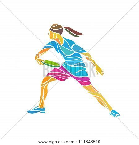 Female Player Is Playing Ultimate Frisbe, Vector Illustration