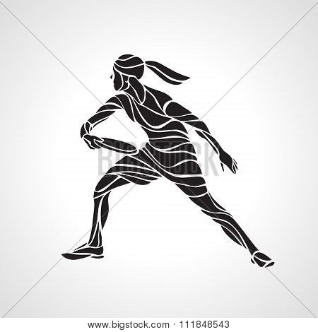 Female Player Is Playing Ultimate Frisbe, Vector Silhouette