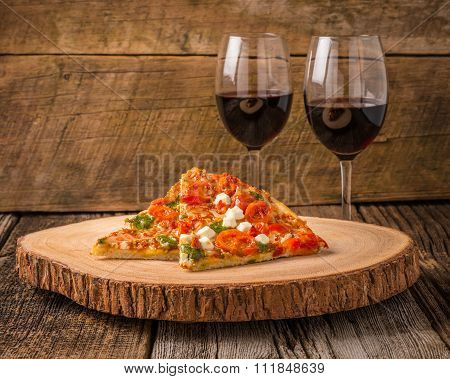 Pizza Slices And Wine