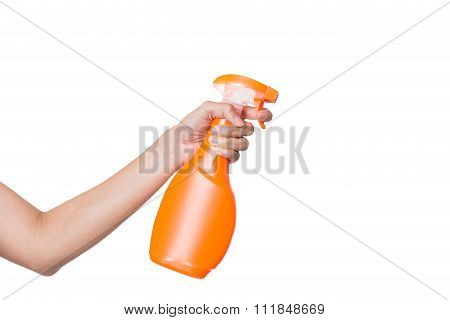 Woman Hand Spraying Cleaning Liquid On White Background