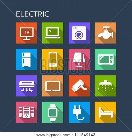 Household Electric Appliance Icon Set