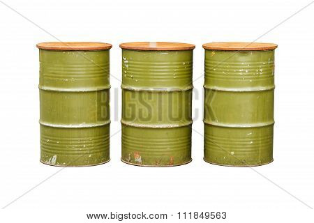 Green Metal Barrel Isolated On White Background With Clipping Path.