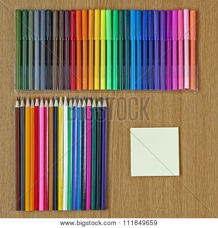 Educational Or Art Background, Art Crayons And Felt Tips, With Text Space.