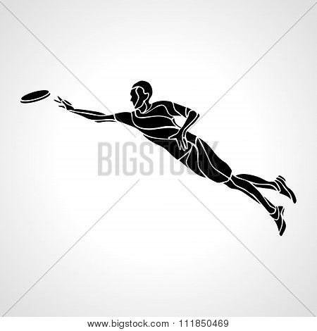 Sportsman Throwing Flying Disc. Vector Illustration