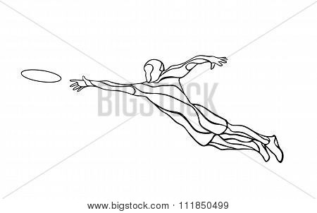 Sportsman Throwing Flying Disc Vector Illustration