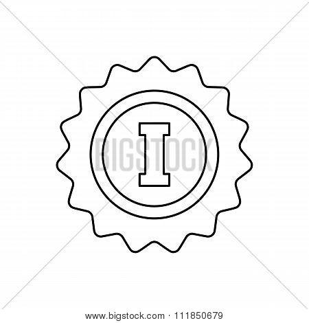 1st place rosette line icon