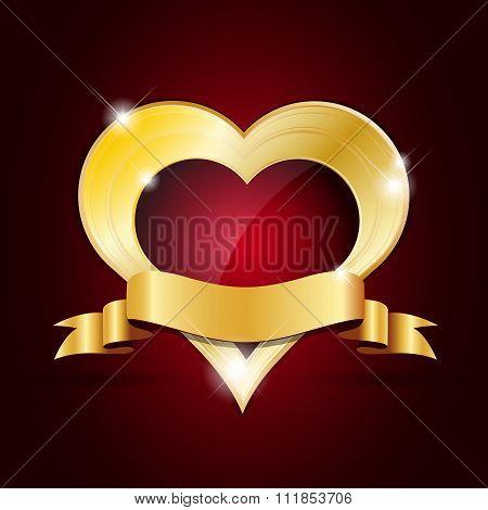 Abstract Shiny Golden Heart With Ribbon
