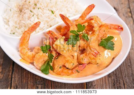shrimp cooked with coconut milk and curry