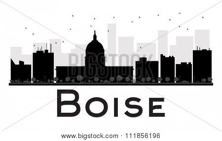 Boise City skyline black and white silhouette. Simple flat concept for tourism presentation, banner, placard or web site. Business travel concept. Cityscape with famous landmarks