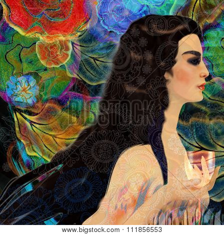 Stylized Woman Face On A Floral Background, Menu Background.