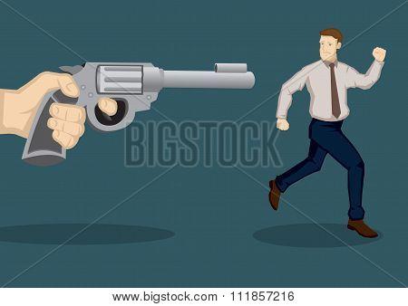 Businessman At Gunpoint Cartoon Vector Illustration