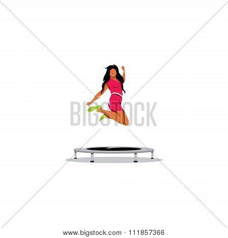 Trampoline jumping. Vector Illustration.