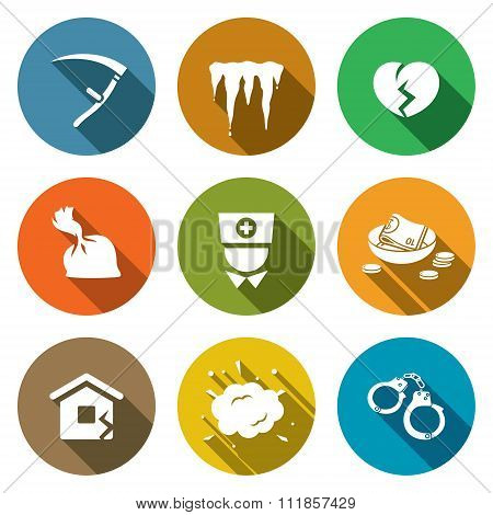 Unhappiness Icons Set. Vector Illustration.
