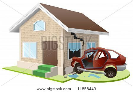 Car crashed into house. Home insurance