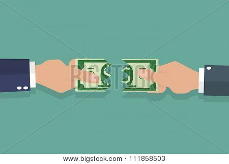 Hands ripped banknote