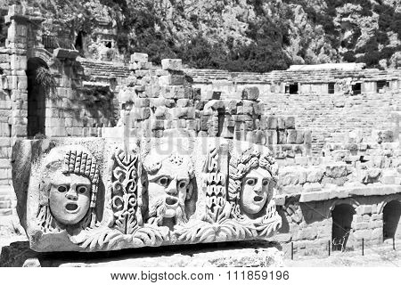 In  Myra Turkey Europe Old Roman Necropolis And Indigenous Tomb Stone