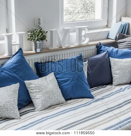 Bedding on the  bed