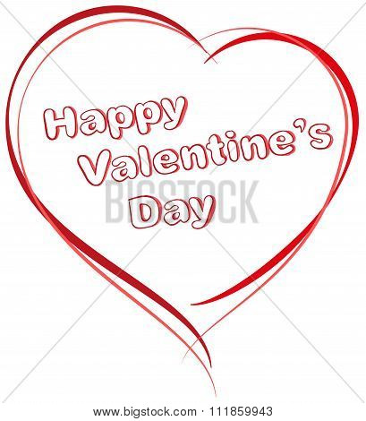 Red heart shape. Happy Valentines Day. Typescript greeting text