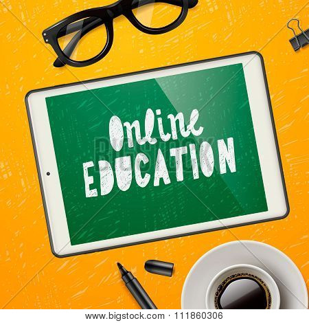 Online education concept, workspace with device