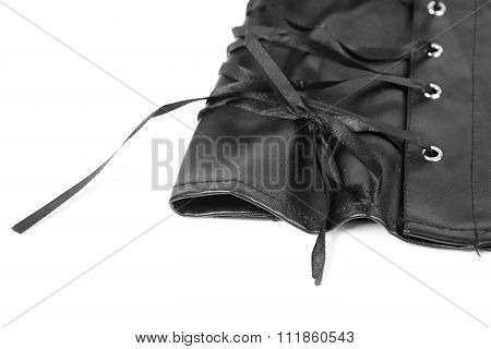 Leather Skirt Lacing Close-up Isolated On White