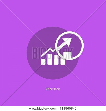 Chart icon with magnifying glass.