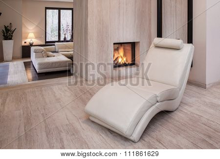 New Design White Leather Armchair