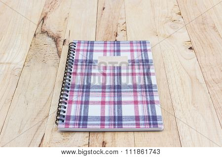 Fabric Plaid Texture Cover Spiral Notebook.